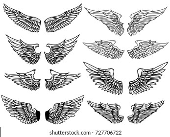Set of vintage wings illustrations isolated on white background. Design element for logo, label, emblem, sign. Vector illustration.