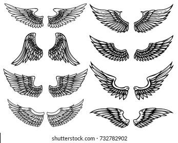 Set of vintage wings illustrations isolated on white background. Design element for logo, label, emblem, sign. Vector illustration.