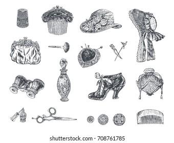 Set of vintage women's fashion accessories. Bonnet hat, female comb, shoe, purse, perfume, cosmetics, pins, scissors, opera glasses. Vector hand drawn illustration, retro engraving style