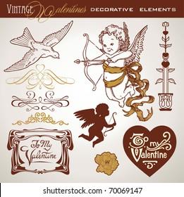 set of vintage-looking design elements for valentines cards
