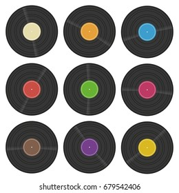 Set of vinyl, phonograph or gramophone record with colorful labels. LP retro disc icon. Vector illustration