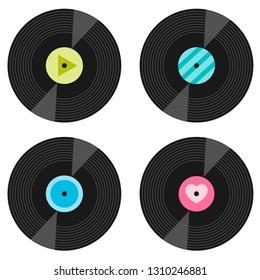 set of vinyl record icons