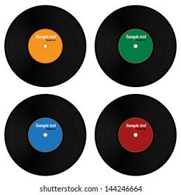Set Of Vinyl Record Isolated