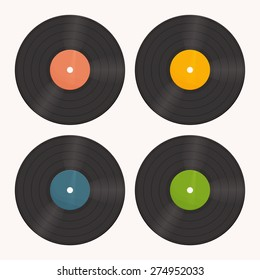 a set of vinyl records with the label of different colors on a white background