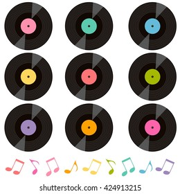 set of vinyl records and music notes