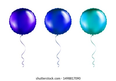 Set of Violet and Blue Round Shaped foil balloons on transparent white background. Party Balloons event design decoration. Mockup for balloon print. Vector.