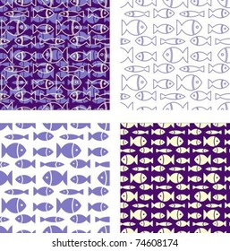 Set violet dark blue a background with fishes