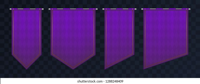 Set of violet royal medieval banners. Pennant templates with iron poles and gold elements. Empty flags with texture and pattern. Eps10 vector