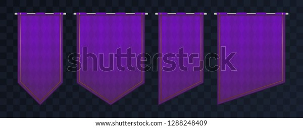 Set Violet Royal Medieval Banners Pennant Stock Vector (Royalty Free