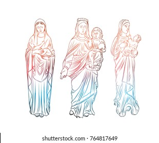 Set of Virgin Mary tattoo art. Symbol of Christianity religion, mother of Christ. Blackwork adult flesh tattoo concept. Saint Mary with a child Jesus template concept. Vector.