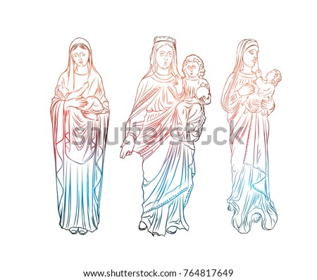 Set Virgin Mary Tattoo Art Symbol Stock Vector Royalty Free