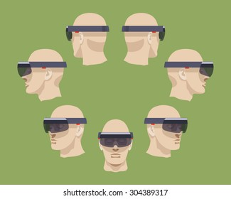 Set of the virtual reality headsets. The objects are isolated against the green background and shown from different sides