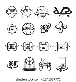 Set of virtual reality icons. Future technology symbol concept. Vector illustration