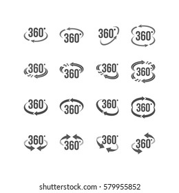 Set of  Virtual Reality Related 360 Degree or 360 views icon with 360 Arrows for Virtual Reality Image and Video
