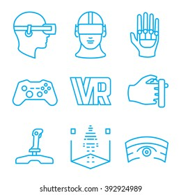 Set of virtual reality vector icons