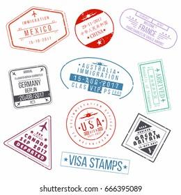 Set of visa passport stamps. International arrivals sign rubber stamps. Vector