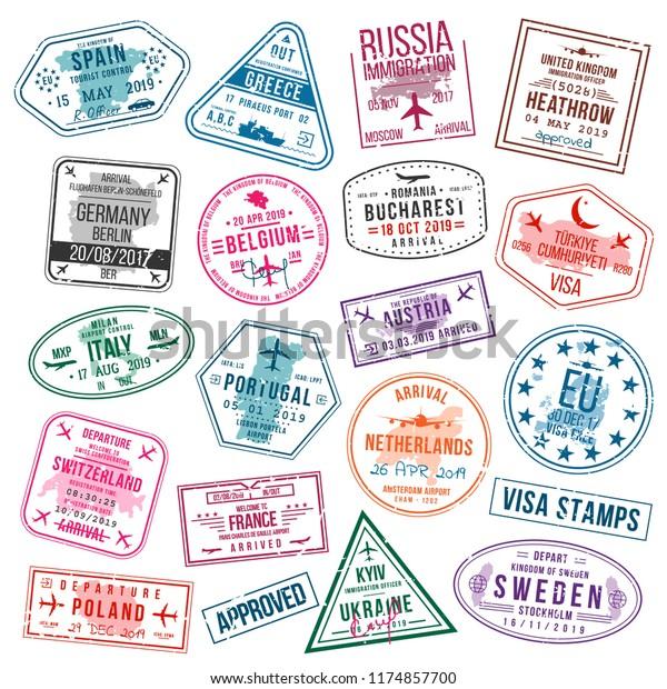 Set Visa Stamps Passports International Immigration Stock