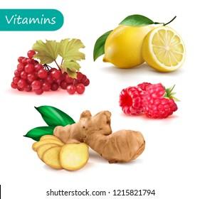 Set of vitamins to strengthen the immunity viburnum, lemon, ginger, raspberry. Vector illustration.