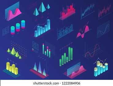 Set of vivid colorful infographic elements for ui design, presentation graphics, data statistics. 3d isometric bright light diagram vector illustration.