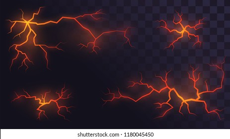 Set of volcanic cracks with lava on a transparent background, glowing crevices