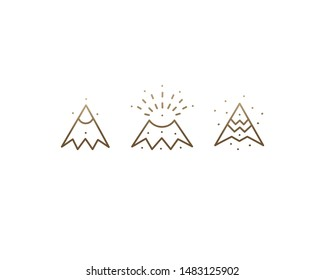 Set volcano linear icons. Mountain collection. Nature disaster. Danger symbol. Geometric icons. Vector isolated outline drawing.
