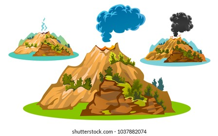 Set of volcanoes of different degrees