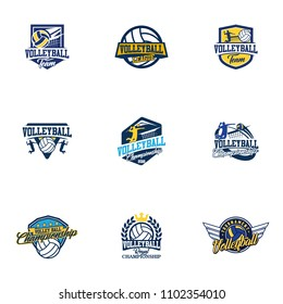Set of volleyball badge design logo emblem. Sport emblem insignia templates collection on a light background