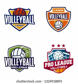Set Of Volleyball Badge Logo Templates, Sport T-Shirt Graphics - Vector