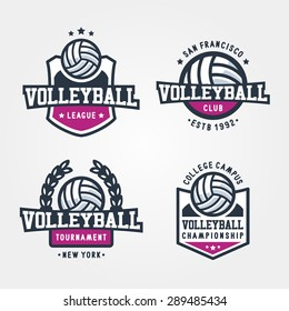 Set Of Volleyball Badge Logo Templates, Sport T-Shirt Graphics