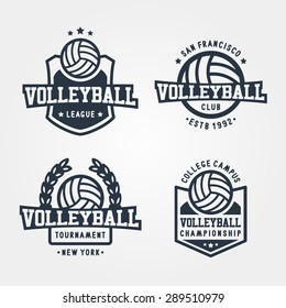 Set Of Volleyball Badge Logos. Sport T-Shirt Graphics
