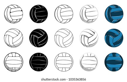 Set volleyball ball icon, contour ball, colored ball vector illustration