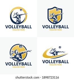 Set volleyball logo template design