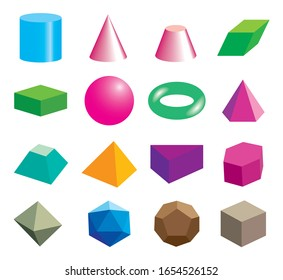Set of volumetric geometrical colored shapes. Vector illustration