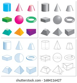Set of volumetric geometrical colored shapes. Drawing, scheme, sketch. Vector illustration