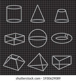 Set of of volumetric geometrical shapes contours. Vector illustration