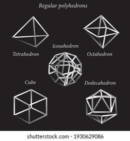 Set of volumetric geometrical shapes. Regular polyhedron. White outlines on a black background. Vector illustration