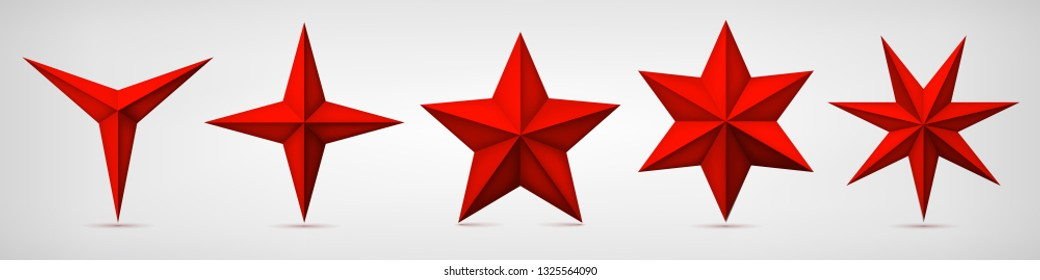 Set of volumetric red vector stars. Three, four, five, six and seven coal forms, geometry shape, abstract vector