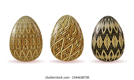 Set of voluminous Easter eggs with geometric patterns of black and gold. Vector