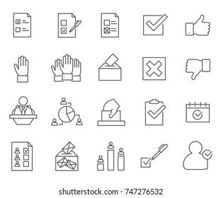 Set of vote Related Vector Line Icons.Includes such Icons as poll, election, public opinion, society and more.