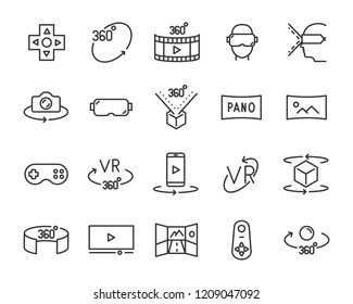 set of vr line icons, such as 360 degree, 3d, virtual