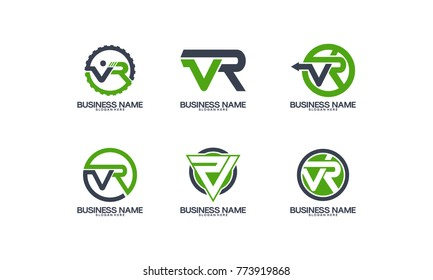 Set VR logo initial designs template vector
