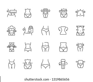 Set of waist Related Vector Line Icons. Includes such Icons as figure, silhouette, sports, nutrition, fitness, workout, sexuality, supplements, exercise, vitamins, diet, clothes