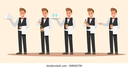 Set of Waiter character design. Vector design.