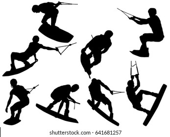 Set of wakeboarding silhouette
