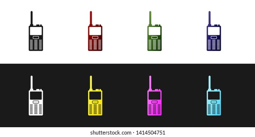 Set Walkie talkie icon isolated on black and white background. Portable radio transmitter icon. Radio transceiver sign. Vector Illustration