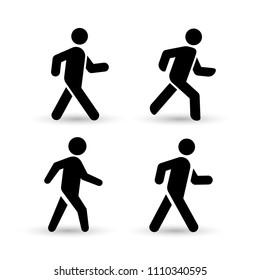 Set of walking man icon. Flat design. Vector illustration. Isolated on white background