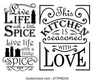 A set of wall decal quotes for the kitchen, dining areas