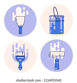 Set of wall painting tools. vector illustration with spatula, bucket of paint, brush and roller. Home repair icons