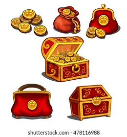 Set of wallets, bags and a chest full of gold coins. Vector illustration.