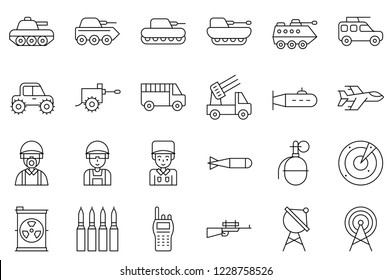set of war and military equipment related outline icon, editable stroke